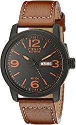 Citizen Eco-Drive Men's BM8475-26E Stainless Steel Watch with Leather Strap