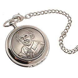 Engraving included – Pocket watch – Solid pewter fronted mechanical skeleton pocket watch – William Shakespeare design 57