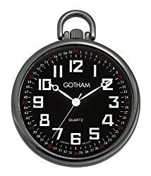 Gotham Men's Gun Metal Ultra Thin Railroad Open Face Quartz Pocket Watch # GWC15022BBK