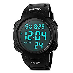 Mens Military Digital Sport Watch Waterproof Outdoor Electronic Army LED Back Light Display Alarm Stopwatch 50M Water Resistant for Children Kids Boy – Black