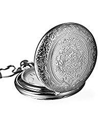 Mudder Vintage Silver Stainless Steel Quartz Pocket Watch Chain