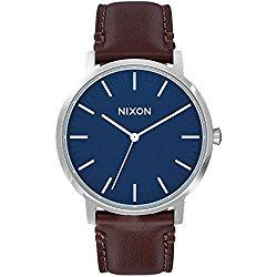 Nixon Men's 'Porter' Quartz Leather Automatic Watch, Color:Brown (Model: A1058879-00)