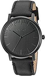 Nixon Men's 'Porter' Quartz Metal and Leather Automatic Watch, Color:Black (Model: A1058001-00)
