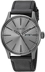 Nixon Men's 'Sentry' Quartz Stainless Steel and Leather Casual Watch, Color:Black (Model: A1051531-00)