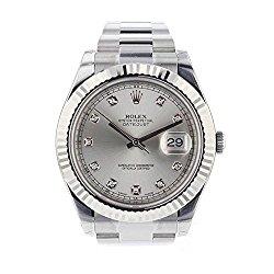Rolex Datejust II 41mm Steel Silver Diamond Dial Men's Watch 116334
