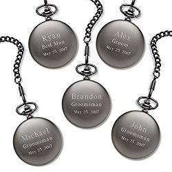 Set of 5 Personalized Gunmetal Gray Exposed Gears Pocket Watch
