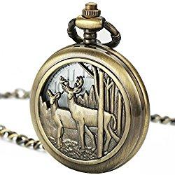 Smart.Deal Pocket Watch With Chain Deer Reindeer Woodland Men Smooth Back Case Bronze Vintage Box Quartz
