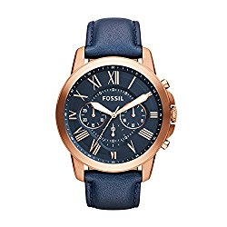 Fossil Men's FS4835 Grant Chronograph Leather Watch – Rose Gold-Tone and Blue
