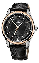 Oris Classic Date Black Dial Black Leather Mens Watch733-7578-4334LS