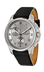 Victorinox Swiss Army Silver Dial SS Leather Chrono Quartz Men's Watch 241553