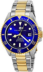 """Henry Jay Mens """"Limited Edition"""" Self Winding Mechanical Automatic 23K Gold Plated Two Tone Stainless Steel """"Specialty Aquamaster"""" Professional Dive Watch"""