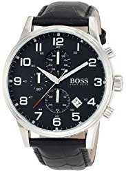 Hugo Boss 1512448 Black Leather Chronograph Mens Watch – Black Dial