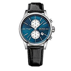 Hugo Boss Black Leather Blue Dial Chronograph Quartz Analog Men's Watch 1513283