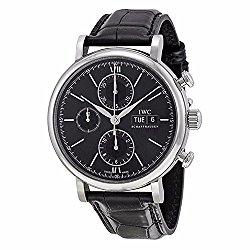 IWC Portofino Chronograph Black Dial Alligator Leather Strap Automatic Mens Watch IW391008