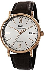 IWC Portofino Silver Dial 18kt Rose Gold Case Brown Leather Strap Automatic Mens Watch 3565-04