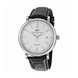 IWC Portofino Silver Dial Black Leather Strap Automatic Mens Watch 3565-01
