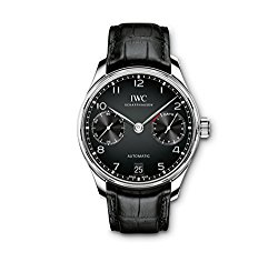 IWC Portugieser Automatic Black Dial Black Strap Mens Watch IW500703