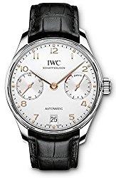 IWC Portugieser Automatic Silver Dial Black Strap Mens Watch IW500704