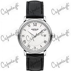 Montblanc Tradition Automatic White Dial Black Leather Automatic Mens Watch 112611