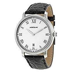 Montblanc Tradition Date White Guilloche Dial Black Leather Mens Watch 112633
