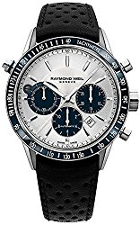 Raymond Weil Freelancer Automatic chronograph Steel on leather strap, silver dial 7740-SC3-65521