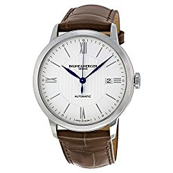 Baume & Mercier Men's Swiss Automatic Stainless Steel and Leather Casual Watch, Color:Brown (Model: MOA10214)