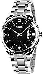 Fanmis Luminous Black Dial Silver Stainless Steel Bracelet Analog Quartz Watch