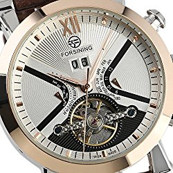 Fanmis Mens Automatic Mechanical Brown Leather White Dial Luxury Men's Rose Gold Wrist Watch