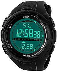 Fanmis Men's Digital Display Military Sports Watch with Rubber Watchband Big Face Wristwatch Black