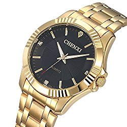 Fanmis Men's Luxury Analog Quartz Watch IP Gold Plating Stainless Steel Black Dial with Rhinestones Business Wrist Watch