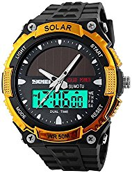 Fanmis Men's Solar Powered Casual Quartz Watch Digital & Analog Multifunctional Sports Watch Gold