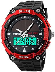 Fanmis Men's Solar Powered Casual Quartz Watch Digital & Analog Multifunctional Sports Watch Red