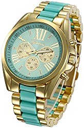 Fanmis Roman Numeral Gold Plated Metal Nylon Link Analog Disply Watch – Turquoise
