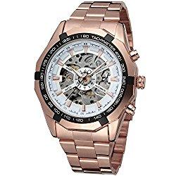 Fanmis Russian Skeleton Men's Automatic Watch Rose Gold Stainless Steel Bracelet Watch