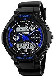 Fanmis Unisex Sport Watch Multifunction Green Led Light Analog Digital Waterproof S – Shock Wristwatch (Blue)