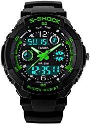 Fanmis Unisex Sport Watch Multifunction Green Led Light Digital Waterproof S – Shock Wristwatch (Green)