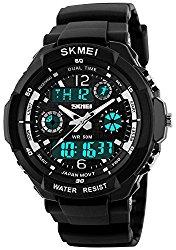 Fanmis Unisex Sports Watch Multifunction Green Led Light Digital Waterproof S – Shock Wristwatch (Black)