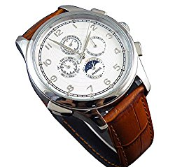 White Globe Dial Automaitc Self Wind Weel Chronometer Moon Phase Womens Mens Brown Silver Wrist Watch