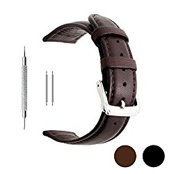 Berfine 18mm 20mm 22mm Calf Leather Watch Band, Extra Soft Watch Strap for Men Women