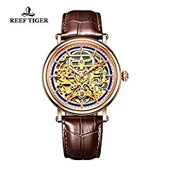 Reef Tiger Business Ultrathin Watches for Men Rose Gold Skeleton Dial Leather Strap Watch RGA1917