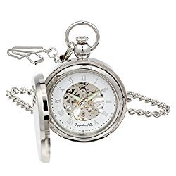Regent Hills Silver Mechanical Picture Frame Full Hunter Skeleton Pocket Watch With Chain 55329CP-AAS2