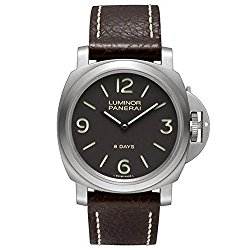 Panerai Luminor Base 8 Days Acciaio Mechanical Brown Dial Mens Watch PAM00562
