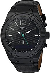 GUESS Men's CONNECT Smartwatch with Amazon Alexa and Genuine Leather Strap Buckle – iOS and Android Compatible –  Black