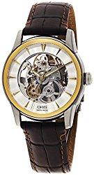 Oris Artelier Skeleton Automatic Steel & Gold Tone Mens Strap Watch 734-7670-4351-LS