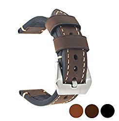 20mm 22mm 24mm Genuine Leather Watch Band Vintage Strap Black Brown