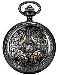 AMPM24 Steampunk Black Copper Case Skeleton Mechanical Pocket Watch Fob WPK167
