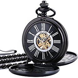 ManChDa Classic Mechanical Smooth Double Black Case Roman Numberals Pocket Watch Fob Gift For Men Women …