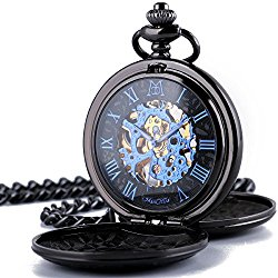ManChDa Retro Mens Black Blue Double Open Skeleton Mechanical Roman Numerals Pocket Watch With Chain Gift …