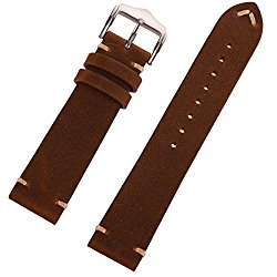 EACHE 18mm 20mm 22mm Genuine Leather Watch Band Crazy Horse/Oil Wax Leather Replacement Straps