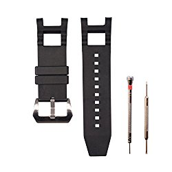 CACA for Invicta Subaqua Noma III – Soft and Durable Rubber Silicone Replacement Watch Band / Strap with Stainless Steel Buckle – Black Invicta Watch Strap